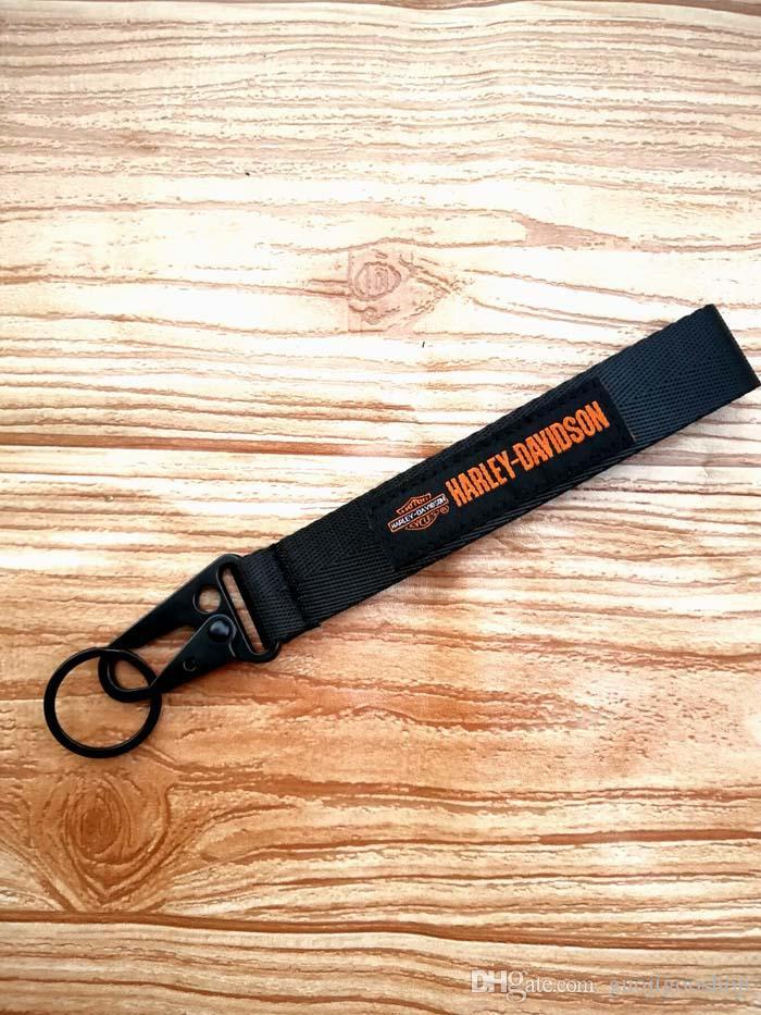 10PCS HARLEY-DAVISION Racing wrist Keychain For Car Mobile Phone ID Card Hanging Strap Lanyards As TRD MOMO Keyring