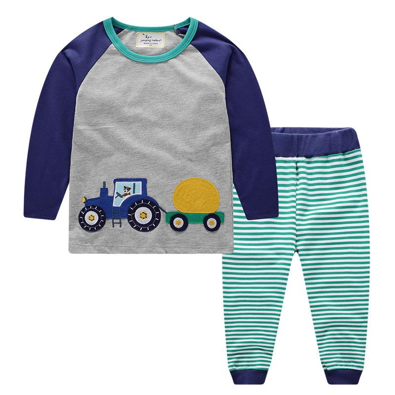 Jumping meters Brand 2019 Autumn Spring Baby Girls Boys Fall Truck embroidery Long sleeve dress clothes set For Kids clothing