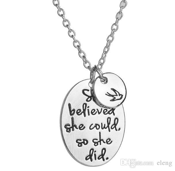 "Hand stamped ""she believed she could so she did"" Disc Swallow Charms Pendant Necklace For Women Best Friends Inspirational Jewelry 631"