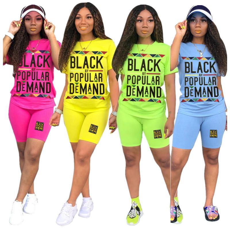 Balck Письмо Женщины Tracksuit короткий рукав футболки Топы + Шорты 2 Piece Set Top Эпикировка качества Summer Casual костюм Sportswear 4 цвета