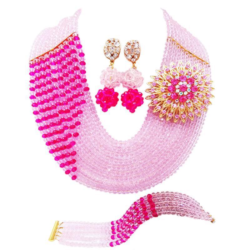 Agradável Rosa Rosa Fúcsia Crysral Engagement Beads Colar Conjuntos de Jóias para As Mulheres 10C-CJZ-42