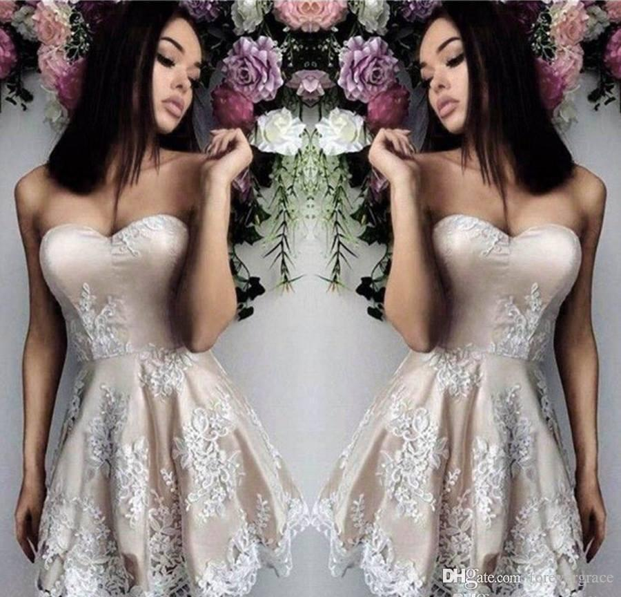 2019 Cheap Arabic Short Homecoming Dress A Line Sweetheart Juniors Sweet 15 Graduation Cocktail Party Dress Plus Size Custom Made
