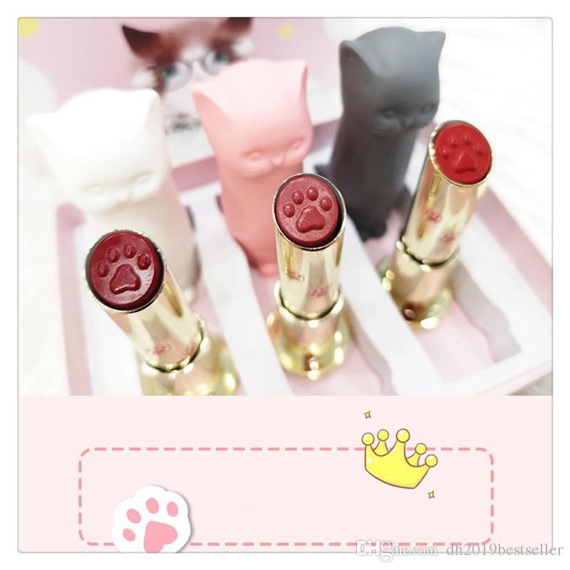 Cartoon Cat Lipsticks Makeup Set Long Lasting Crystal Moisturizing Lipstick Lip Gloss Girl Friend Gift 3 Pcs A Set
