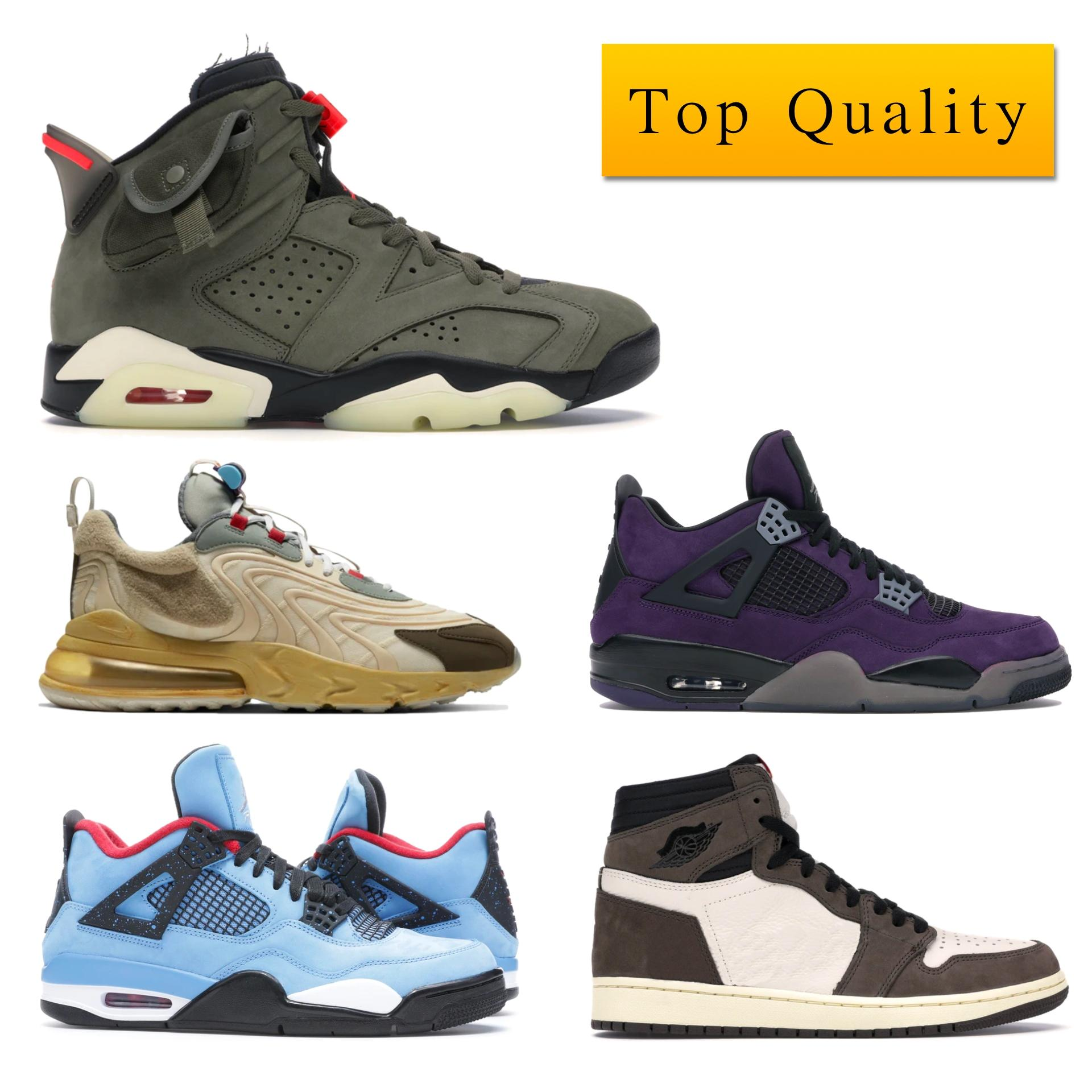 أعلى جودة مع صندوق J4 ريترو ترافيس سكوتس صبار جاك بيربل (الأصدقاء والعائلة) رجل حذاء رياضة 308٬497-406