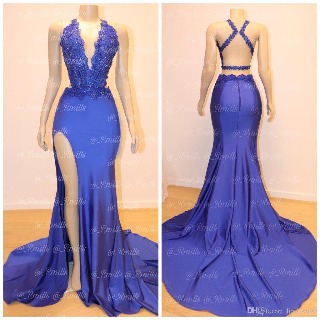 South African Prom Dresses 2019 Navy Blue Mermaid V Neck Applique Sequins Split Evening Gowns Criss Cross Backless Designed Formal Wear