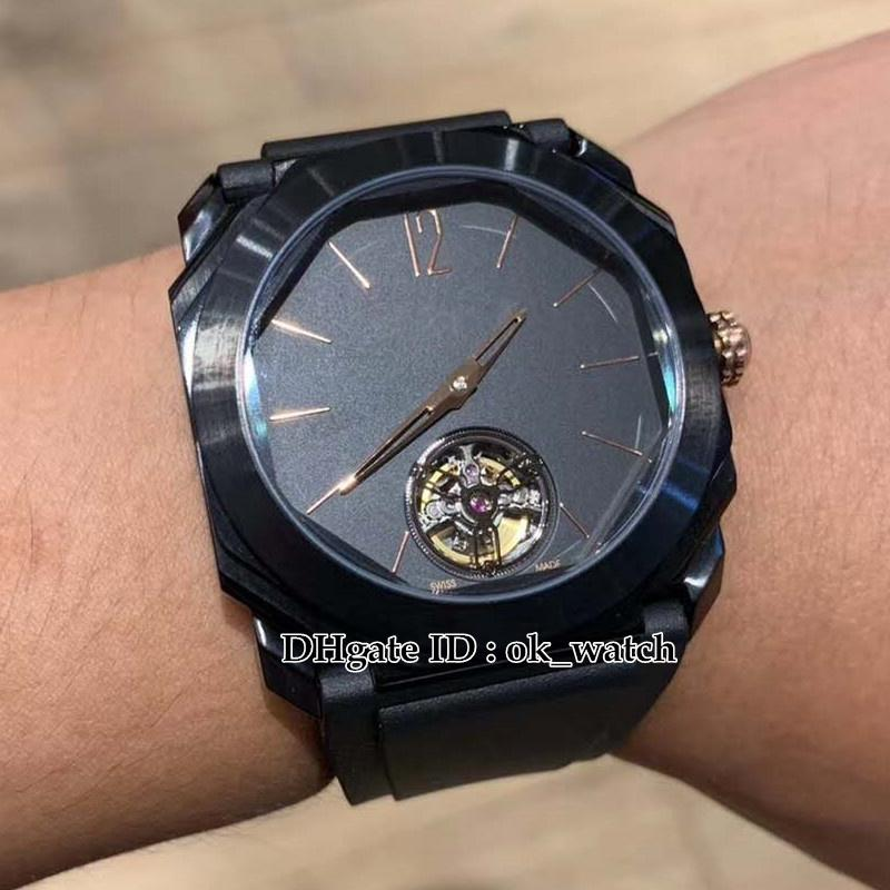 Cheap New 41mm Octo Finissimo 102560 Tourbillon Automatic Mens Watch Black Dial Black Rubber Strap PVD Black Steel Case Gents Sport watches