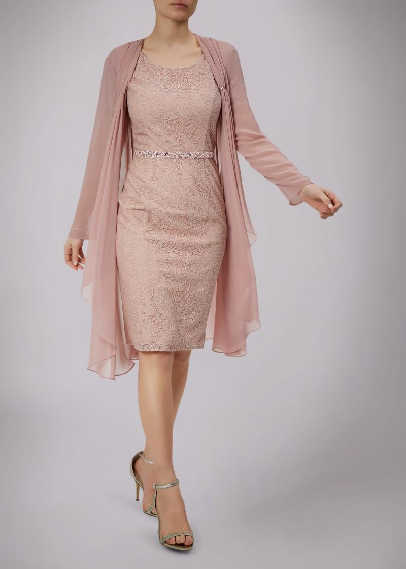 Spitze-Mutter der Braut-Kleider mit Chiffon Jacke Kurzarm Mütter Bräutigam Kleider Perlen Sash Zeitsgast Kleid