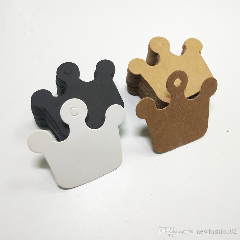 500 stücke 6 * 5,5 cm krone leere handgemachte back paket hängen tags beste preis geschenk verpackung tags schwarz kraftpapier karte tags