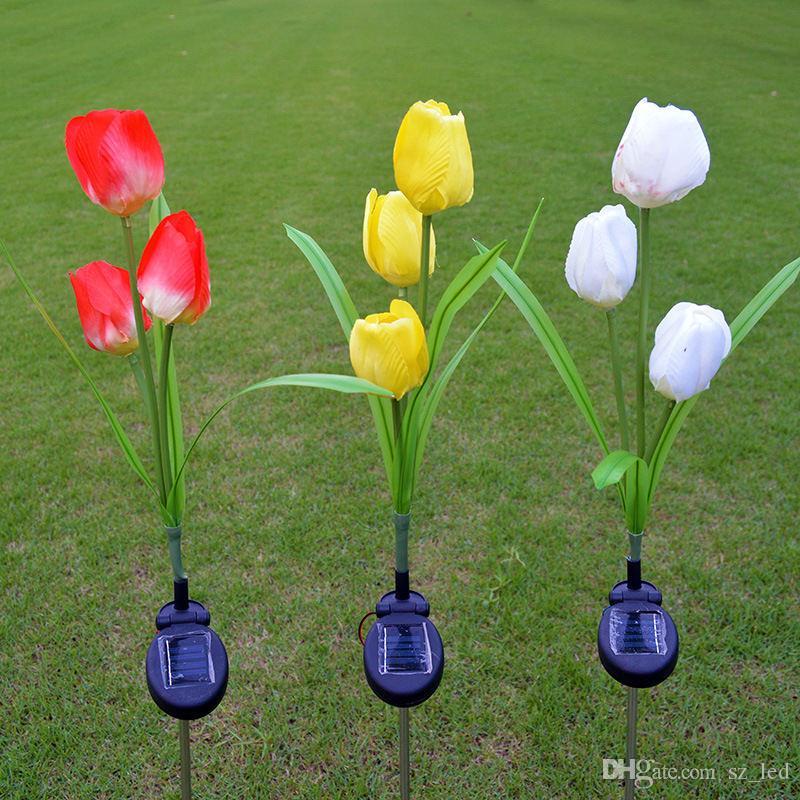 Impermeabile Lampada a energia solare Luce prato Fiore Tulipano Rosso Giallo Bianco Decorazione di paesaggi all'aperto per cortile di via
