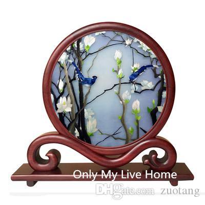 Feine dekorative Büro Home Zubehör Handwerk Tischdekorationen Ornamente Hand chinesische Seide Stickerei Muster arbeitet mit Padauk Rahmengeschenk