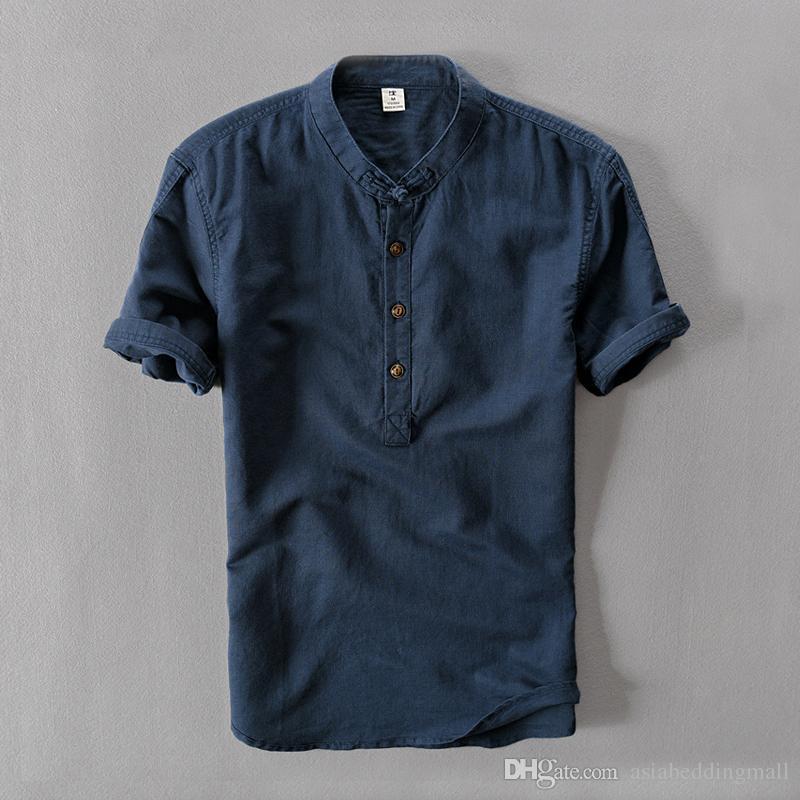 남성 셔츠 패션 여름 짧은 소매 슬림 코튼 린넨 셔츠 남성 흰색 캐주얼 셔츠