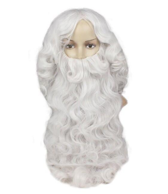 Ücretsiz shippingNew Sıcak Moda Deluxe Noel Baba Peruk + Sakal Set Kostüm Cosplay Noel Peruk