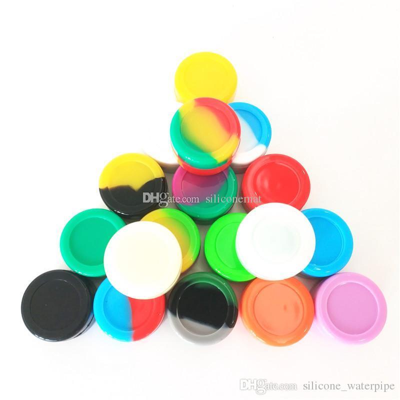 10 teile / los 5 ml mini sortierte farbe silikonbehälter für dabs runde form silikonbehälter wachs silikon gläser