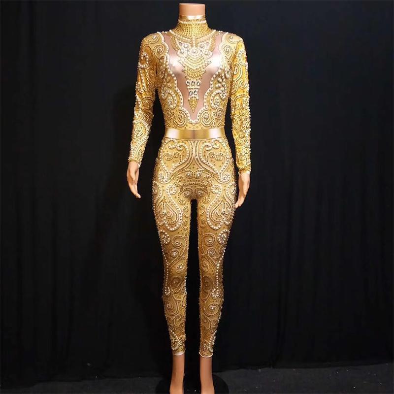 Sparkly золото Стразы Жемчуг Комбинезон Джаз Бар Bodysuit Женщины Singer Одежда День рождения Празднуйте Outfit партии ползунки DJ1010