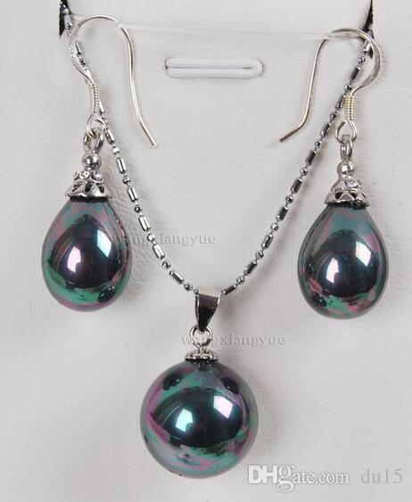 """orecchini da donna conchiglia di perle di mare nero (12x16mm) / pendente (16mm) set da 18 """""""