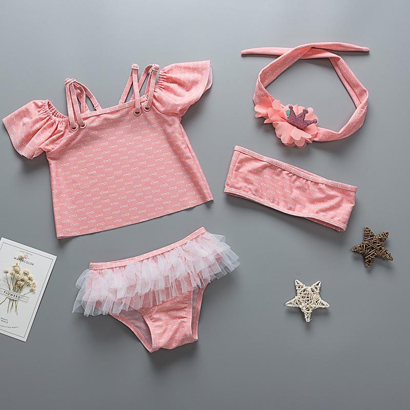 Bebek Kız Mayo UV Koruma Kız Mayo Yenidoğan Bebek Bebekler Mayoları 3 adet Bikini Seti Plaj Havuz Kostümler