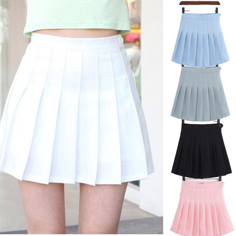 Uniforme meninas A Malha vestido curto de cintura alta plissada Tennis Saia com Shorts Inner Cuecas para Badminton Cheerleader