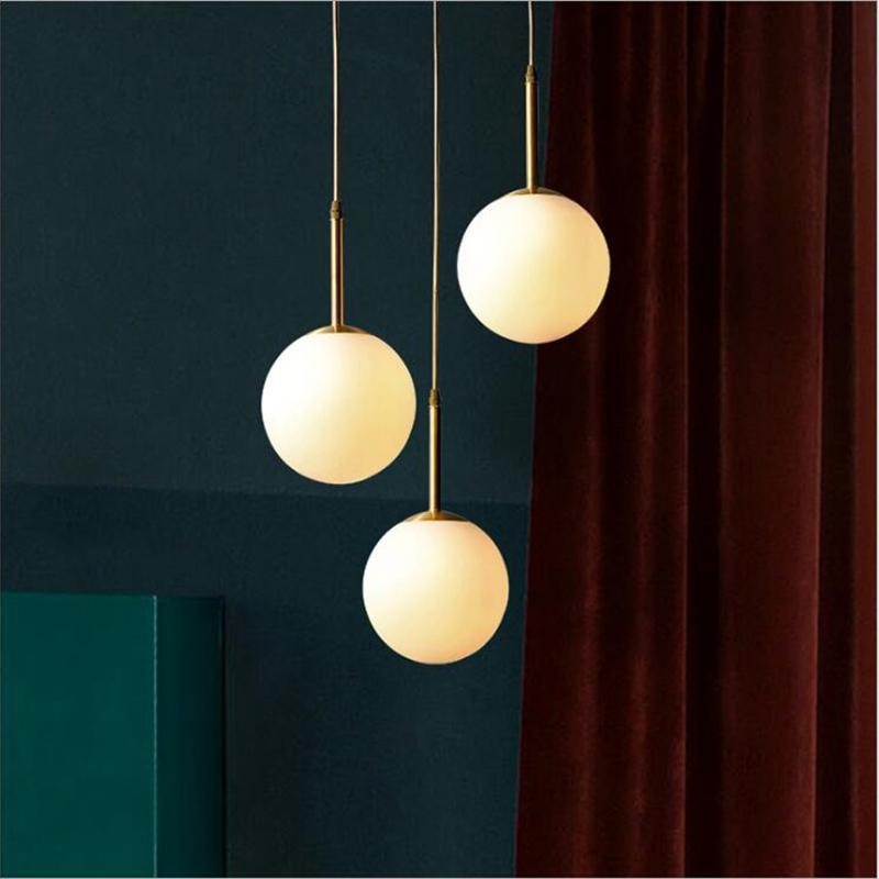 Bola de vidro moderno pingente luz de cabeceira de suspensão Suspensão lâmpada Ilha de cozinha aparelho de iluminação Nordic Loft CE Bola Lamp RW75