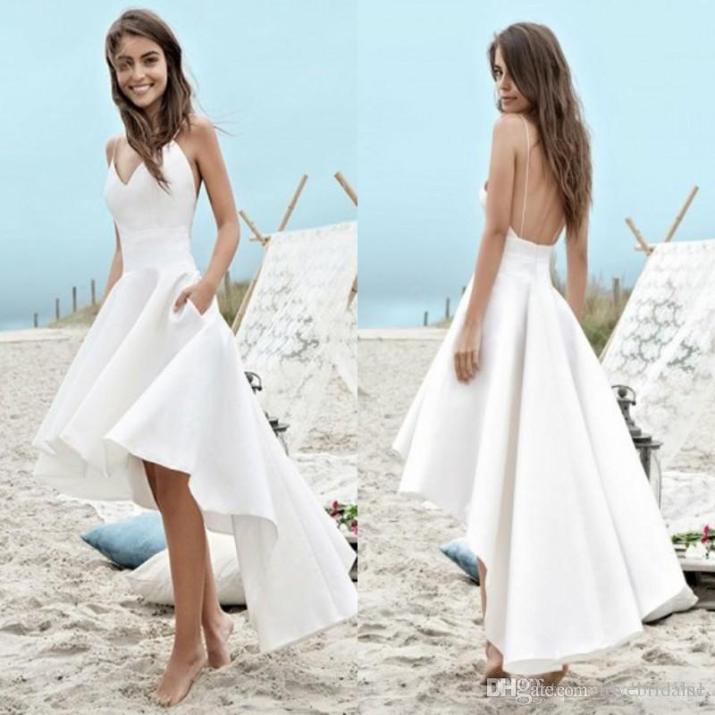 Robes de mariée de plage d'été blanc pas cher Une ligne Boho robes de mariée Sexy High Low Backless Bretelles Spaghetti Robes de vacances