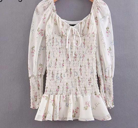 Сексуальное шифоновое летнее платье для женщин с цветочным принтом Lady Puff рукавом V-образным вырезом Эластичное мини-платье Праздничные пляжные платья