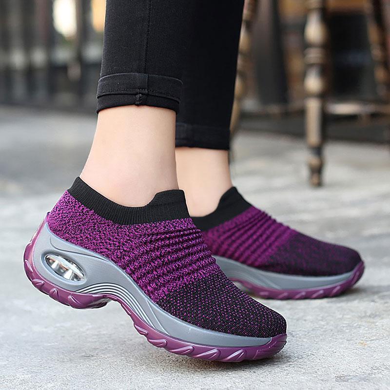 Frauen Turnschuhe 2019 neue Mode Turnschuhe Frauen Laufschuhe atmungsaktives Mesh Slip-On Schuhe zwängt Casual Sport Frau