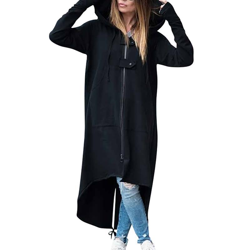 Herbst-Winter-Frauen-Mantel lose langer Ärmel mit Kapuze plus Samt dick Zipper unregelmäßigen Rand mit Kapuze lange Jacken-Mantel