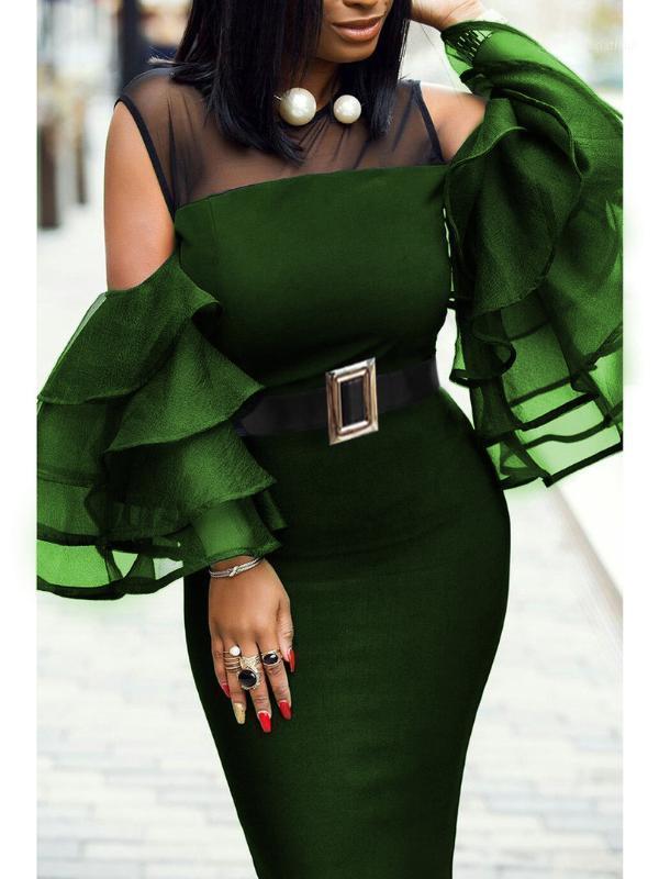 플러스 사이즈 여성 섹시한 메쉬 프릴 슬리브 아프리카 의류 파티 아프리카 드레스 로브 Africaine 팜므 20191에 대한 아프리카 드레스