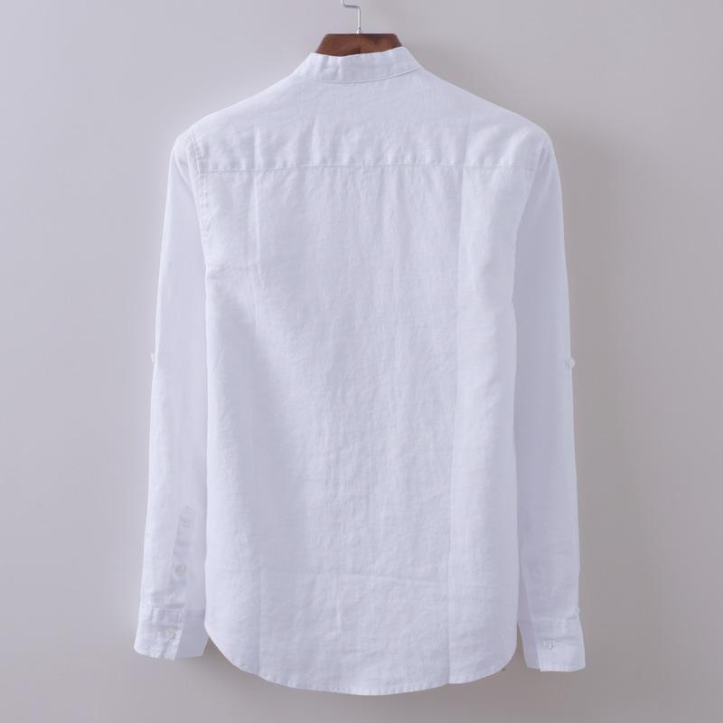Camicia di lavoro Camisa Masculina maniche lunghe White Wedding classiche da uomo traspirante Cotone Lino vestito convenzionale Camicie Business Office