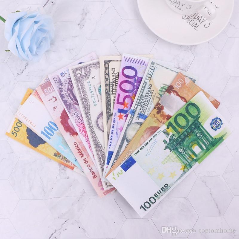 Money Clip Wallet Männer für Geld und Karten Currency Notes Muster Dollar Euro Pound Canvas Geldklammern Unisex-Geldbeutel-freies Verschiffen