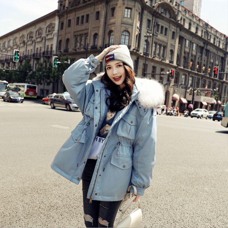 bayan T190930 için büyük kürk yakalı kadın gevşek moda Kore ceket trendi kış ceket ile Kadınlar en yeni kapüşonlu kısa ördek aşağı ceket