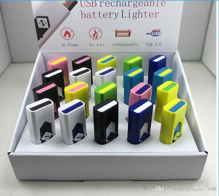 Zigarettenanzünder USB-Akku Elektronische Zigarettenanzünder Winddicht Flammenlos Kein Benzin ABS Flammgeschützter Kunststoff DHL