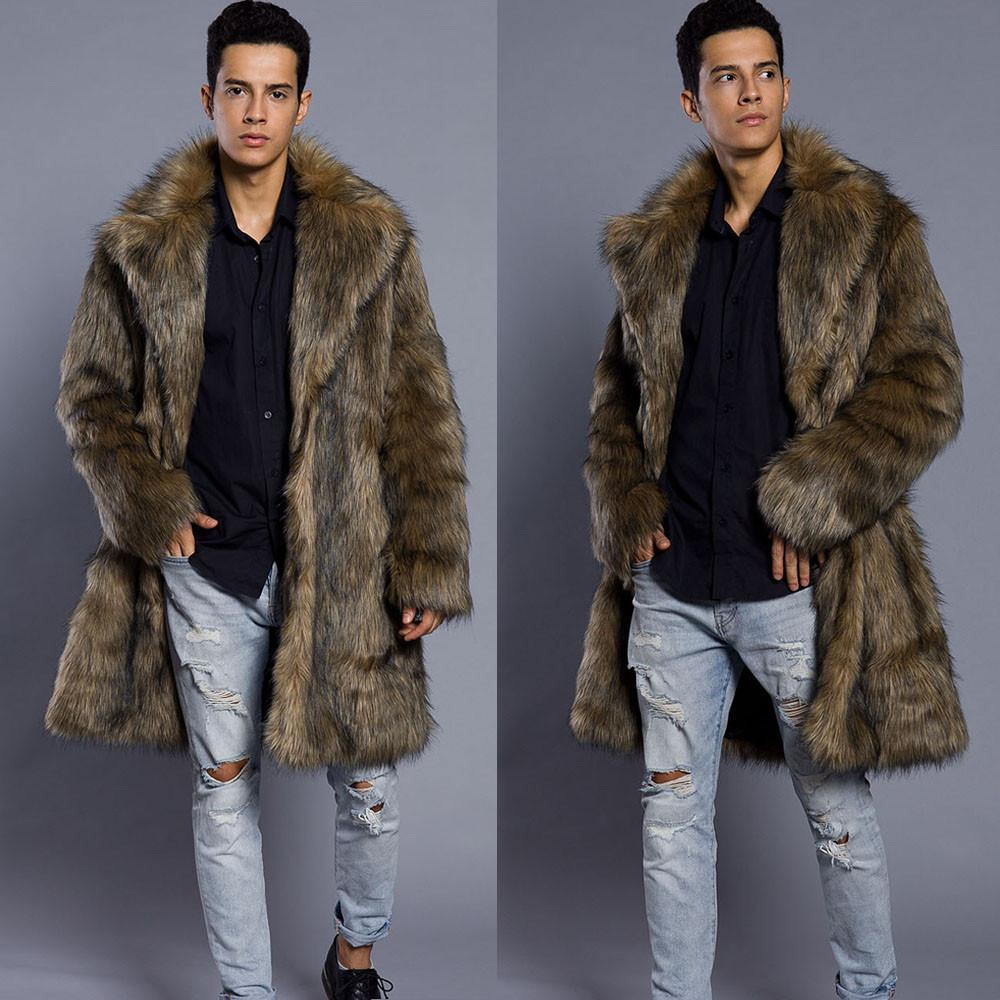 2020 Männer Pelz Mantel-Winter-Pelz-Outwear auf einer Seite-Mantel-Männer Punk Parka Jacken Lange Leder Mäntel Original-Marken-Kleidung