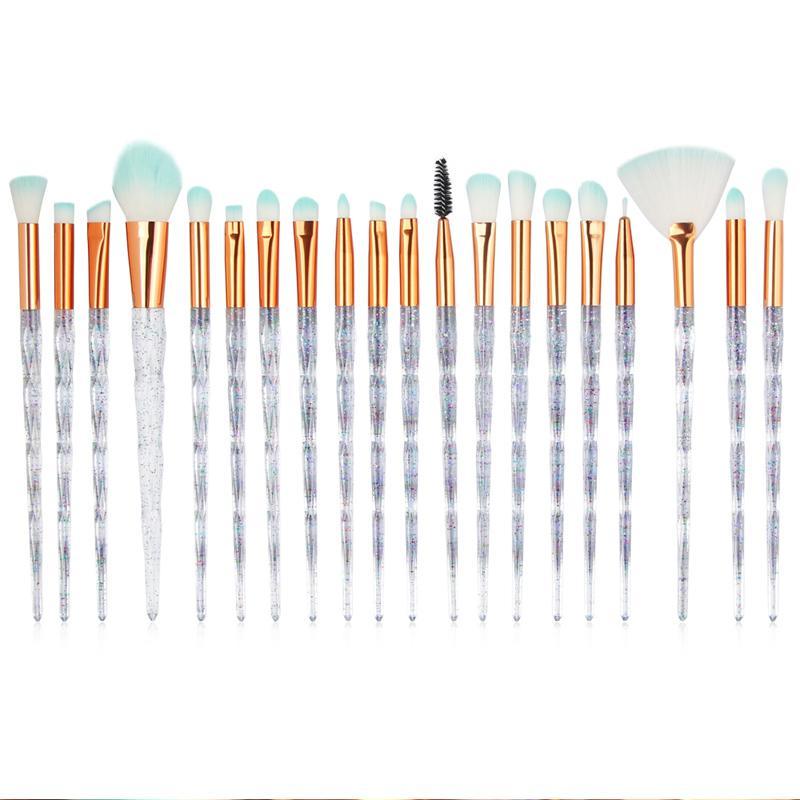 20 adet Elmas Makyaj Fırçalar Setleri Pudra Fondöten Göz Farı Makyaj Fırçalar Araçları Kiti Profesyonel Kozmetik Fırça Kitleri Kristal 0605155