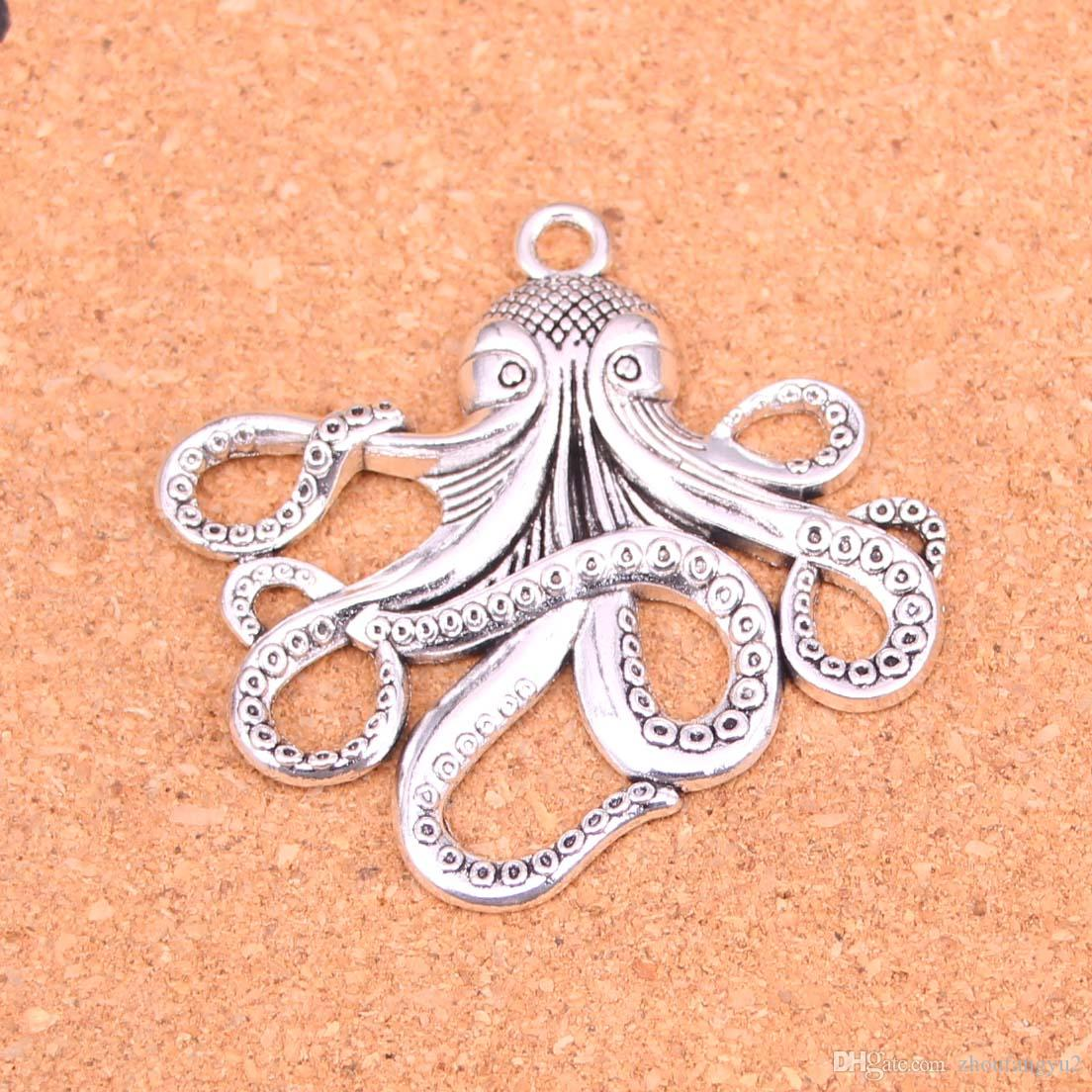 Plata antigua 11pcs encantos pulpo plateado fabricación de los colgantes de plata tibetana DIY hecho a mano joyería 59 * 57mm