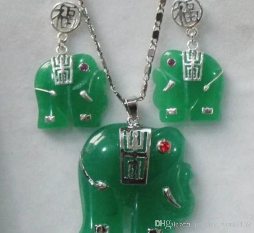 CollierBoucles d'oreilles pendentif boucles d'oreilles en éléphant sculptées en jade verte / alexandrite