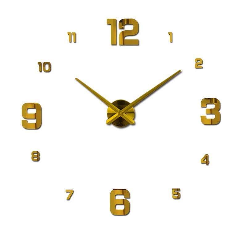 Bricolage Horloges murales 3D Horloge Montre bricolage acrylique Horloge murale Miroir autocollant Grande maison Quartz circulaire Aiguille moderne Décoration murale