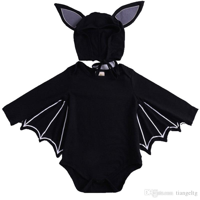 Baby Girls Halloween Jumpsuit Cartoon Bat Lace Triangle Rompers Single-Breasted Kids Clothes Girls Strap Hat Girls Outfits 0-3T 04