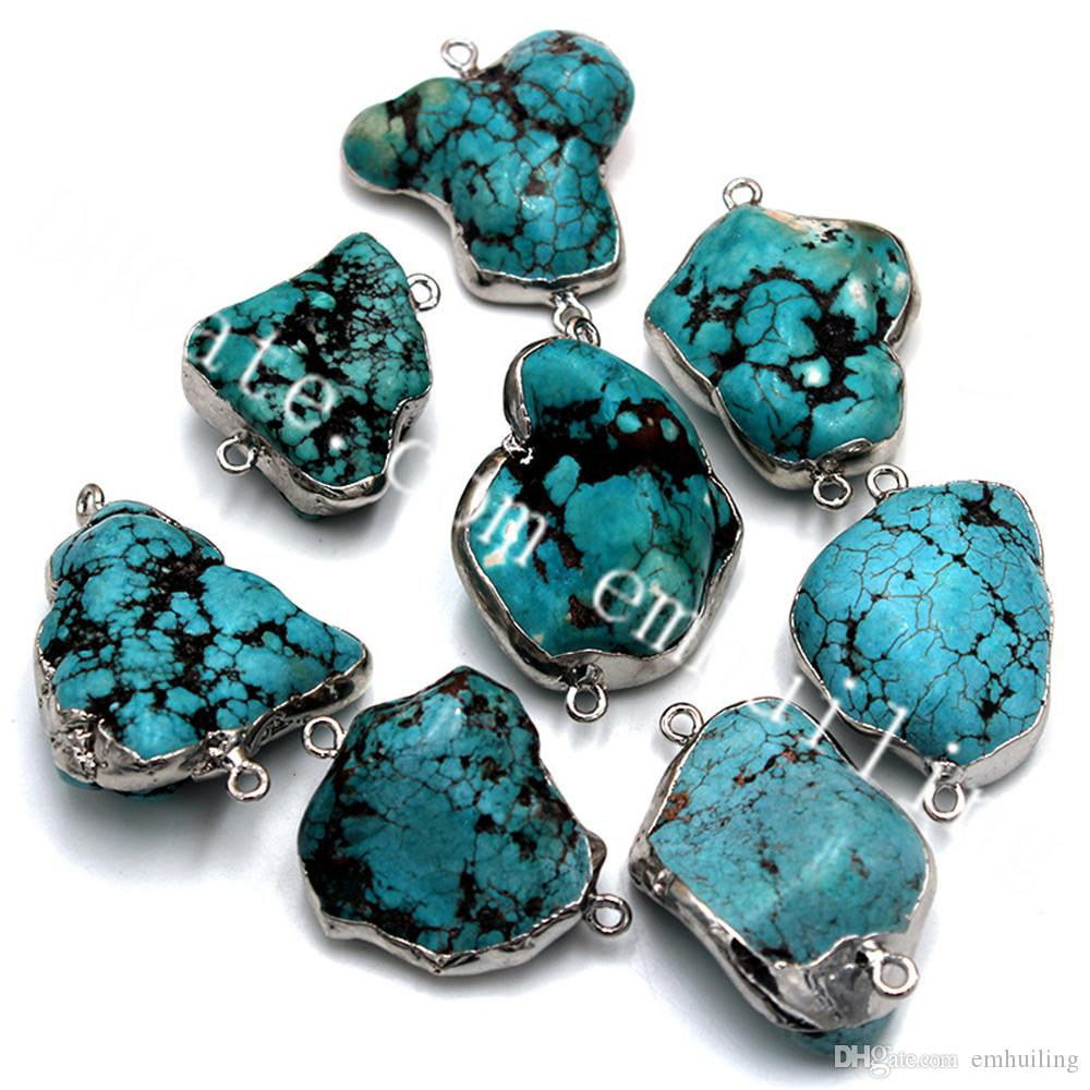 20Pcs Silver Plated Bezel 25-35mm Irregular Natural Rough Green Turquoise Pendants Charms Connector Double Bails Green Nugget Stone Links