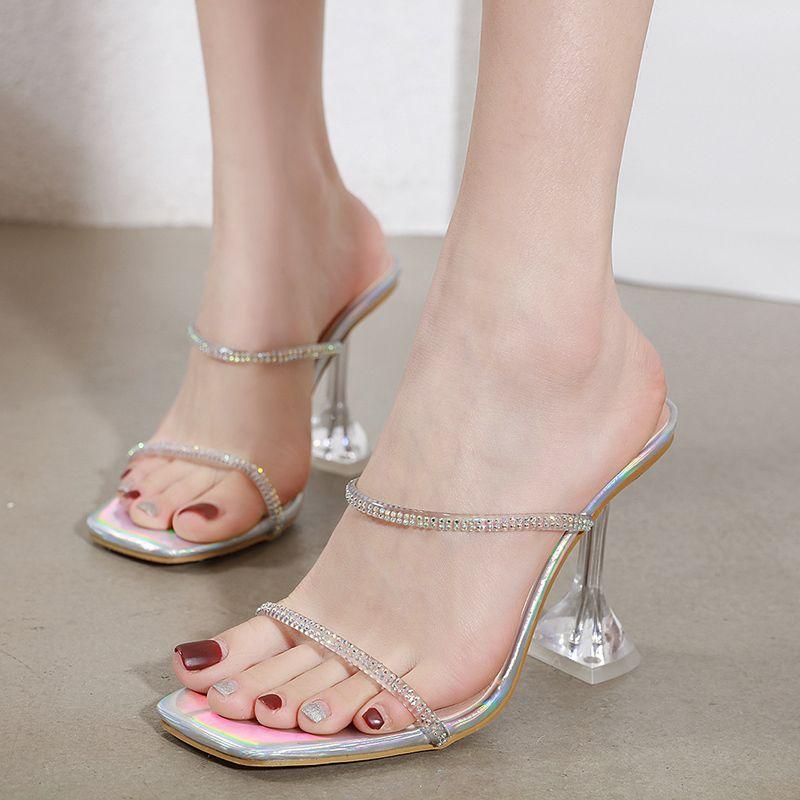 New metal silver spool heel slides crystal transparent heel designer sandals luxury women designer shoes size 34 to 40 tradingbear