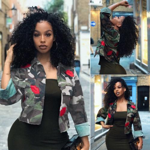 Moda Otoño Las mujeres de las señoras Camo militar del ejército chaquetas cortas camuflaje chaqueta Outwear capa ocasional caliente Nuevo Streetwear más el tamaño