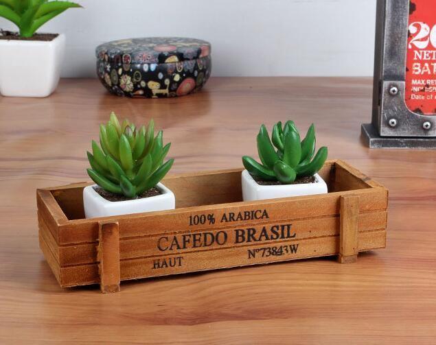Small Retro Potted Plants Pots Wooden Desktop Storage Box Planters Container Boxes Garden Home Desktop Decoration
