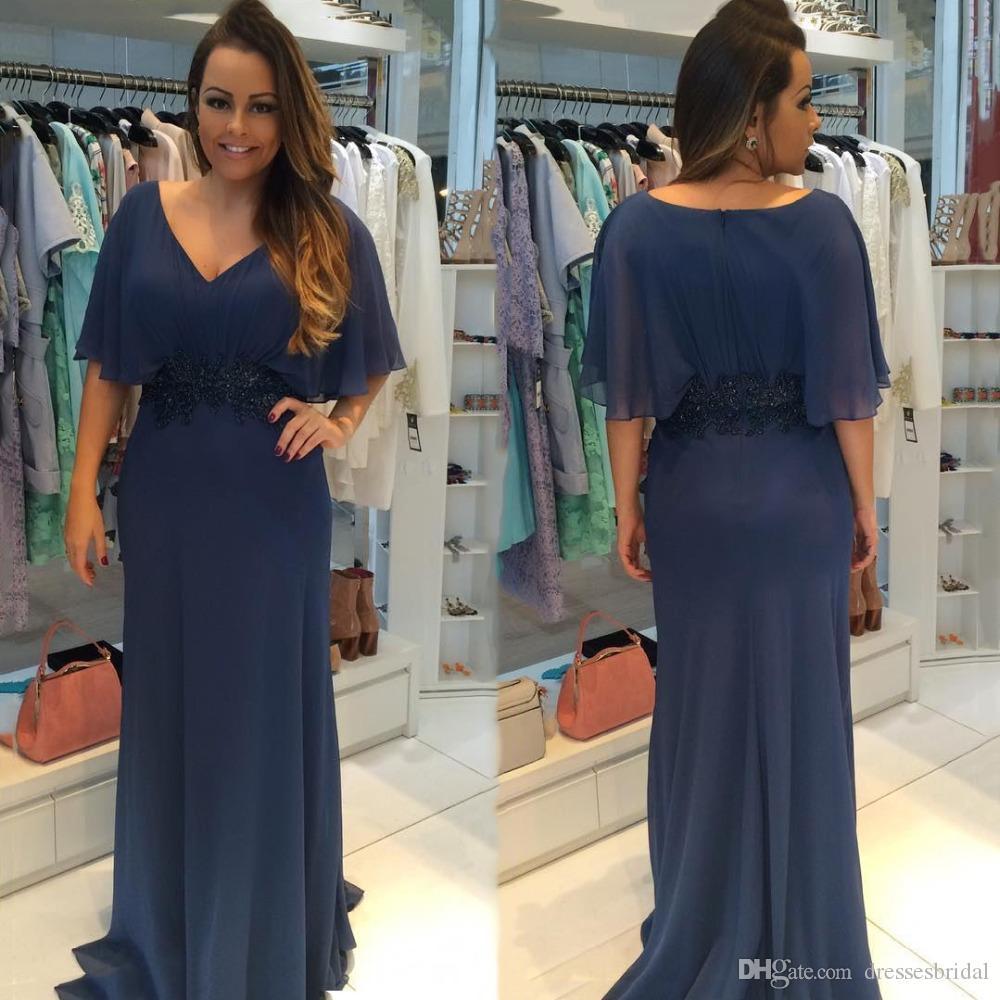Robe de bal bleu marine foncé, taille plus, en mousseline de soie, mère des mariées, robe de soirée élégante, avec ceinture, manches courtes