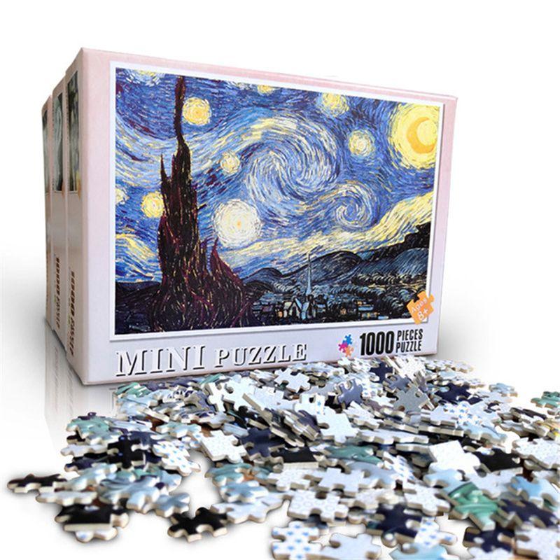 여러 스타일 미니 사진 성인 어린이 아이 게임 교육 장난감 1000 개 나무 조립 퍼즐 장난감 퍼즐