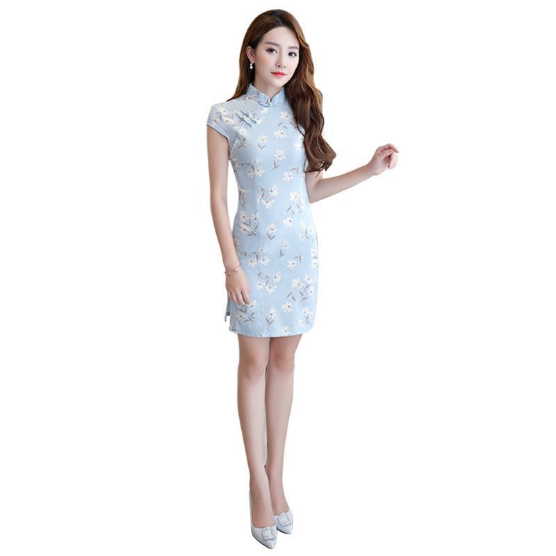 Pamuk Keten Çince Geleneksel Kadın Qipao Eski Oryantal Kadın Cheongsam Yenilik Çin Resmi Elbise Boyutu M L XL XXL 3XL