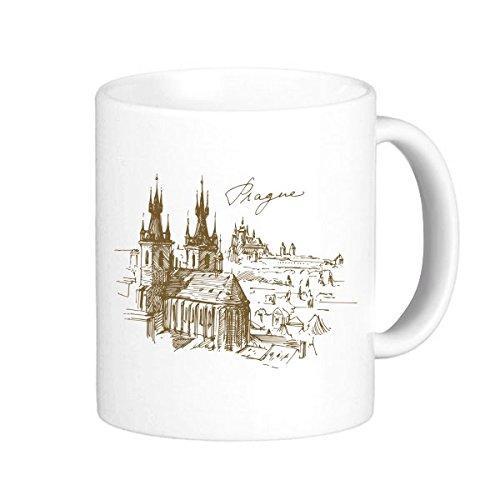 Prag Kare Çek Cumhuriyeti Meydanı Landmark Desen Klasik Kupa Beyaz Çömlek Seramik Fincan Süt Kahve Kolları Ile 350 ml