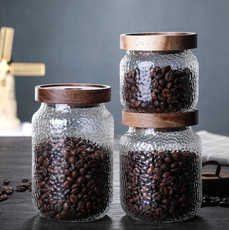 Glass Jars Sealed Cans with Cover Kitchen Food Storage Bottles Mason Spice Jars Candy Storage banks Tea Box Kitchen Storage Can