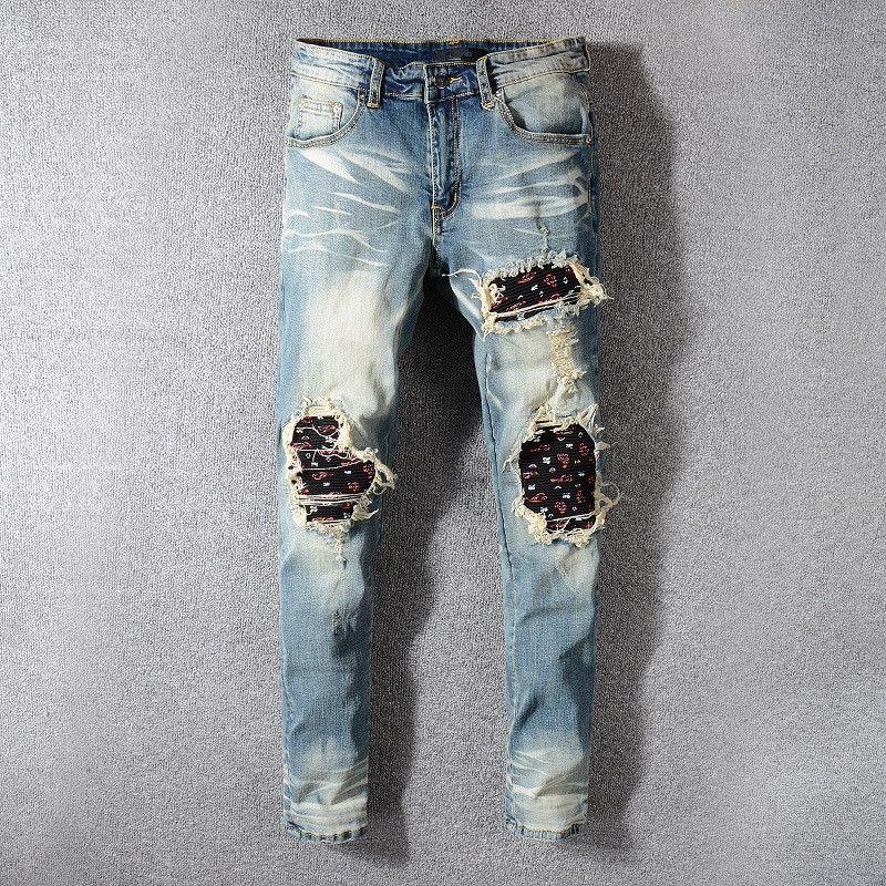 Compre Pantalones De Mezclilla De Algodon Pantalones Vaqueros De La Moda De Nueva Ribete De La Moda De Los Hombres De Los Pantalones Vaqueros Mani Clasicos Pantalones De Los Hombres De Gran