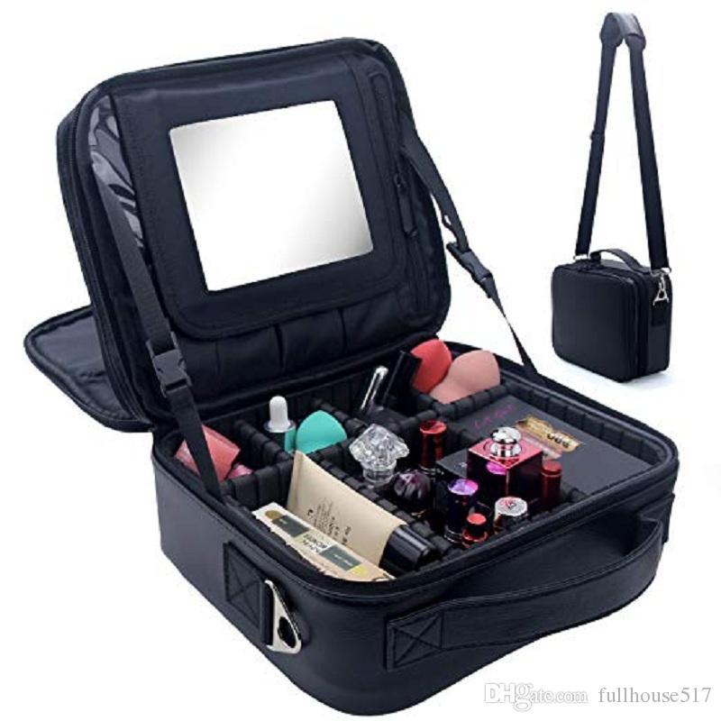 La bolsa del recorrido del maquillaje del maquillaje de tren Caso 2 Capa superior de la PU del cuero cepillo cosmético del maquillaje organizador con espejo portátil negro cajas de almacenamiento de la bolsa