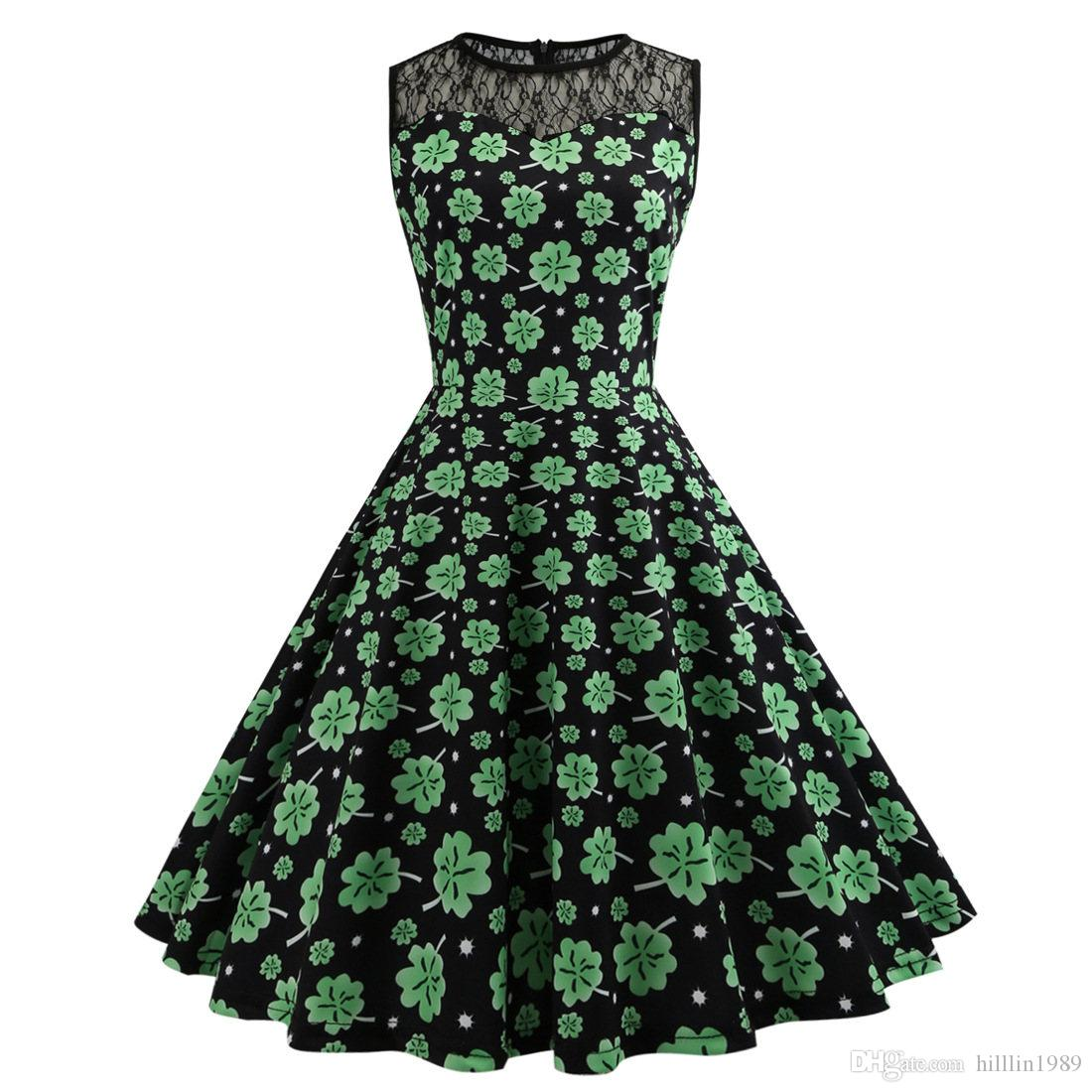 Shamrocks Printed Retro Party Dresses St. Patrick's Day Casual Dress Lace Panelled Clothing Fashion Ireland Holiday Fashion Wear