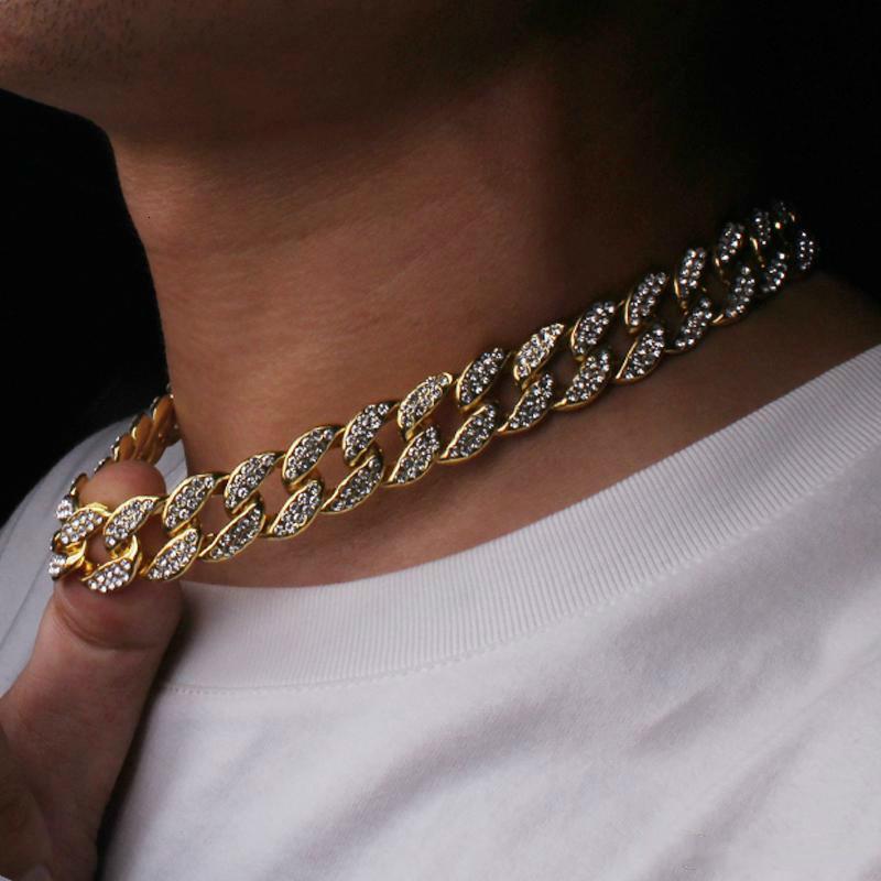 Bling hacia fuera helada del Rhinestone de oro en Finalizar Miami Cuban Link collar de cadena de los hombres s GB1441 joyería del collar de Hip hop